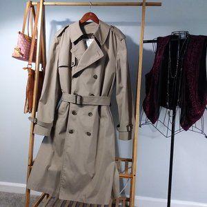 London Fog Trench Coat Career Faux Fur Lining L